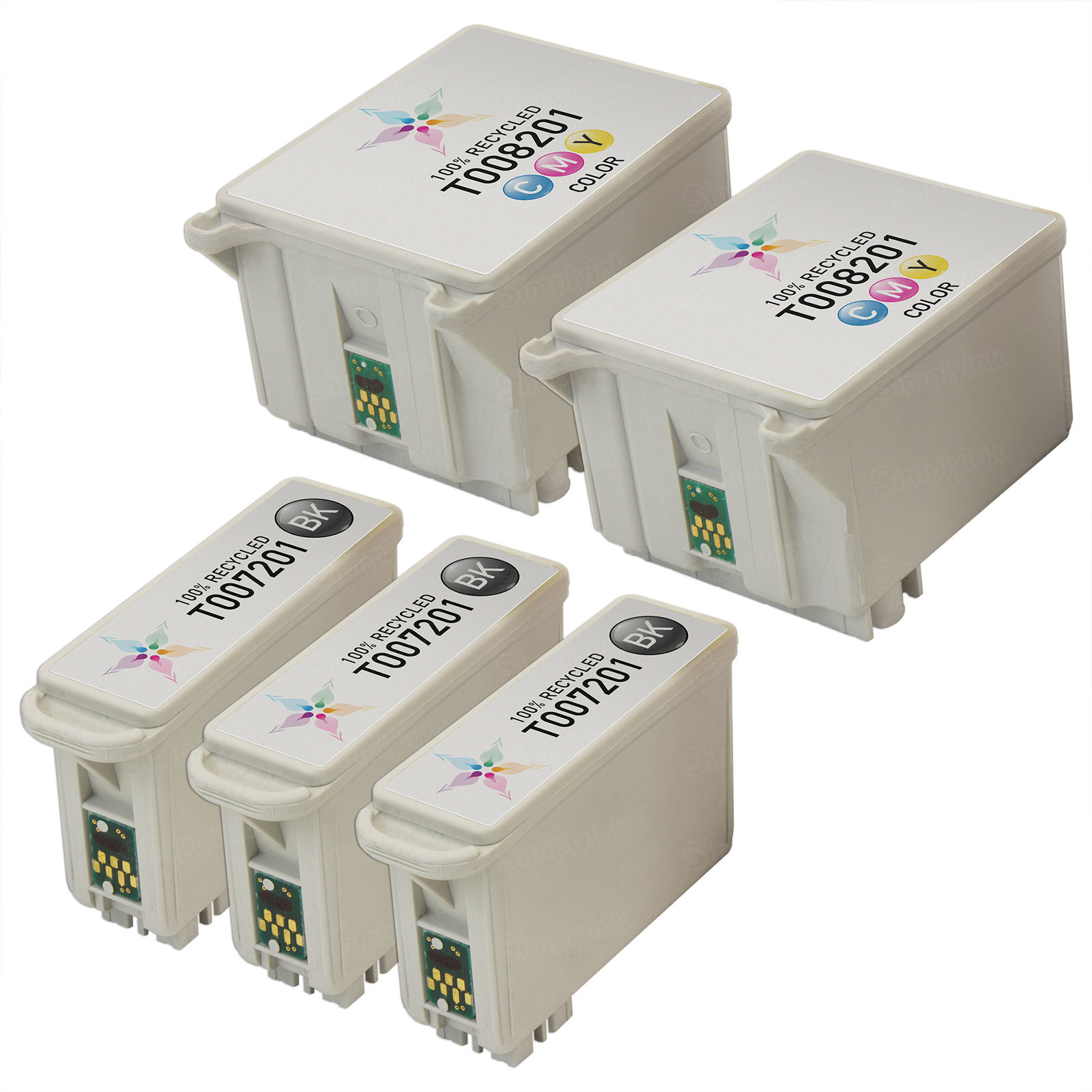 Inkjet Supplies for Epson Printers - Remanufactured Bulk Set of 5 Ink Cartridges 3 Black Epson T007201 (T007) and 2 Color Epson T008201 (T008)