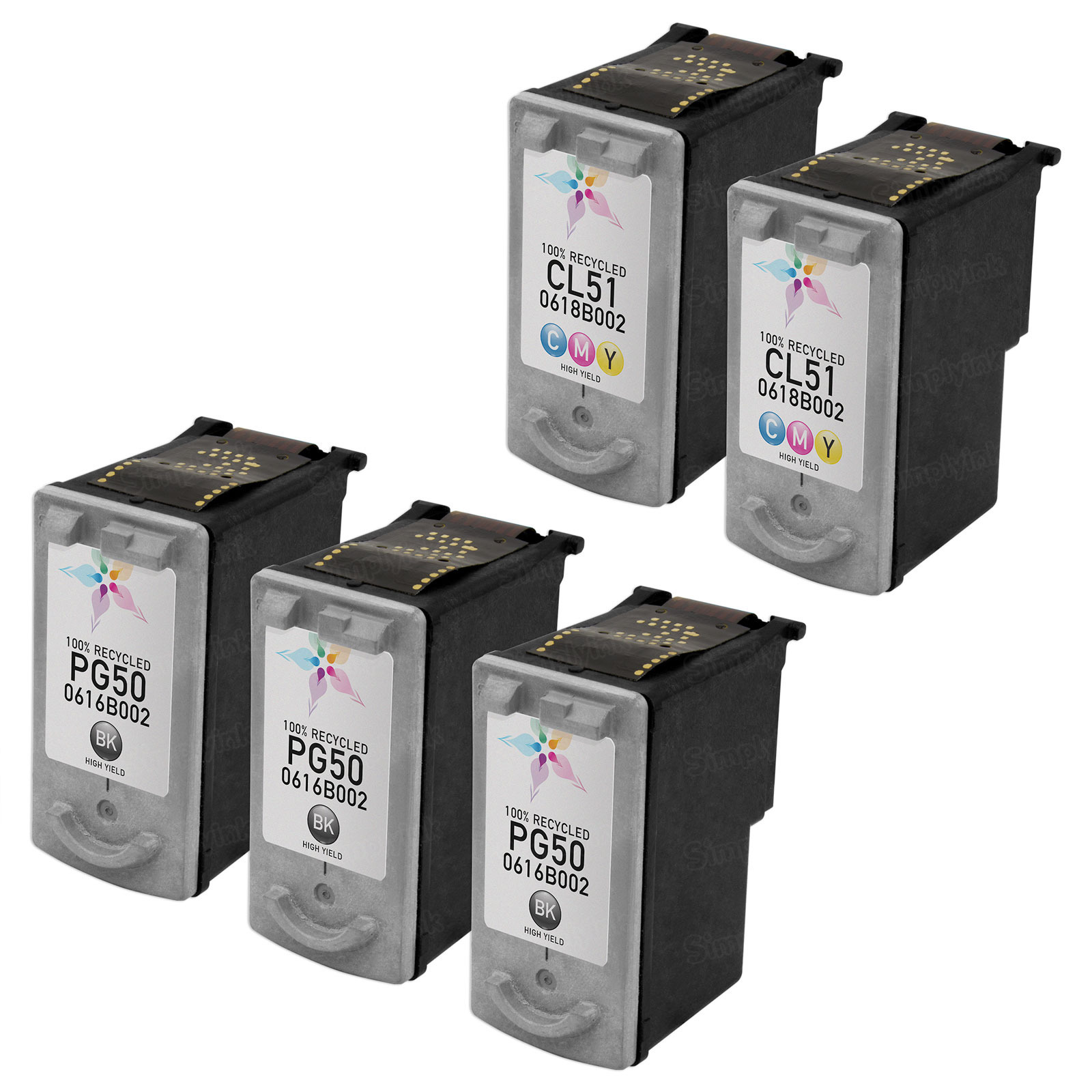 Inkjet Supplies for Canon Printers - Remanufactured Bulk Set of 5 Ink Cartridges 3 Black Canon PG-50 and 2 Color Canon CL-51