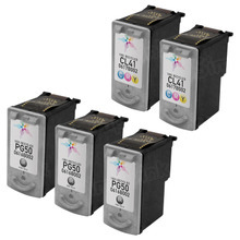Inkjet Supplies for Canon Printers - Remanufactured Bulk Set of 5 Ink Cartridges 3 Black Canon PG-50 and 2 Color Canon CL-41