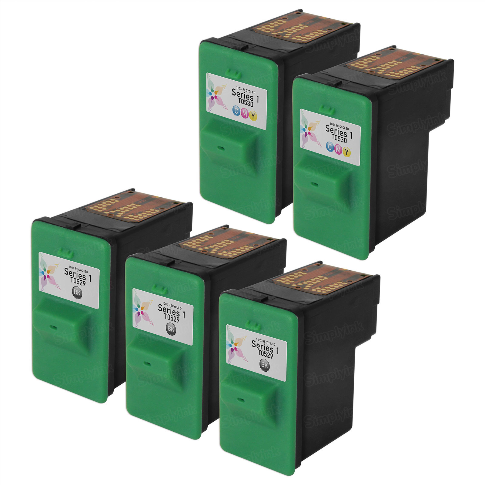 Inkjet Supplies for Dell Printers - Remanufactured Bulk Set of 5 Ink Cartridges 3 Black Dell T0529 (310-4142/Series 1) and 2 Color Dell T0530 (310-4143/Series 1)