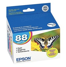 Original Epson 88 OEM Ink Cartridge Color 3-Pack, T088520, C/M/Y