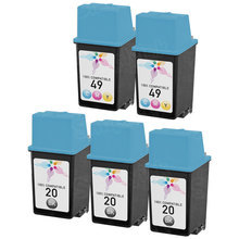 Remanufactured Replacement Bulk Set of 5 Ink Cartridges for HP 20 & HP 49 - 3 Black (C6614DN) and 2 Color (51649A)