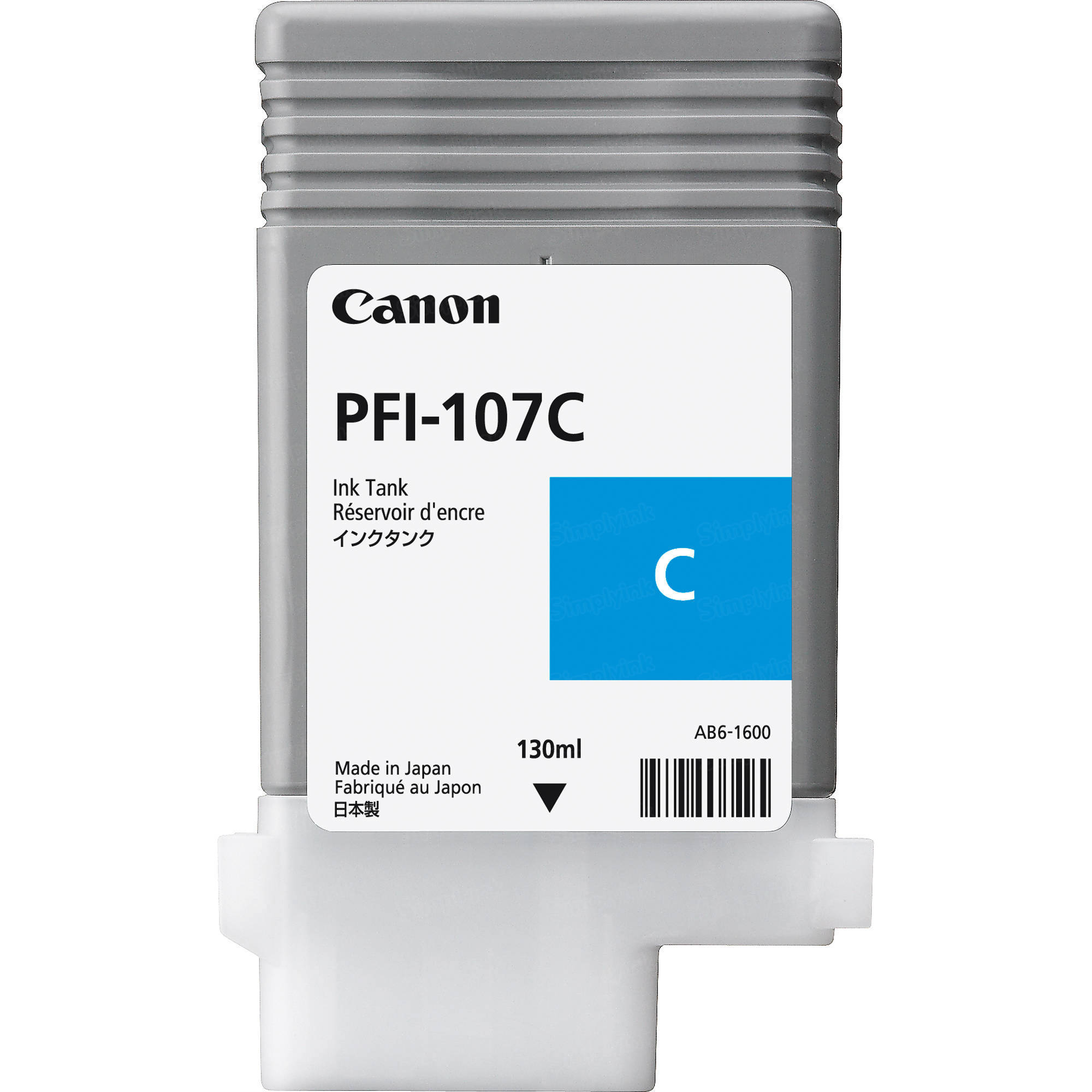 Canon PFI-107C Cyan Ink Cartridge, OEM