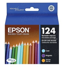 Original Epson 124 OEM Ink Cartridge Color 3-Pack, T124520, C/M/Y