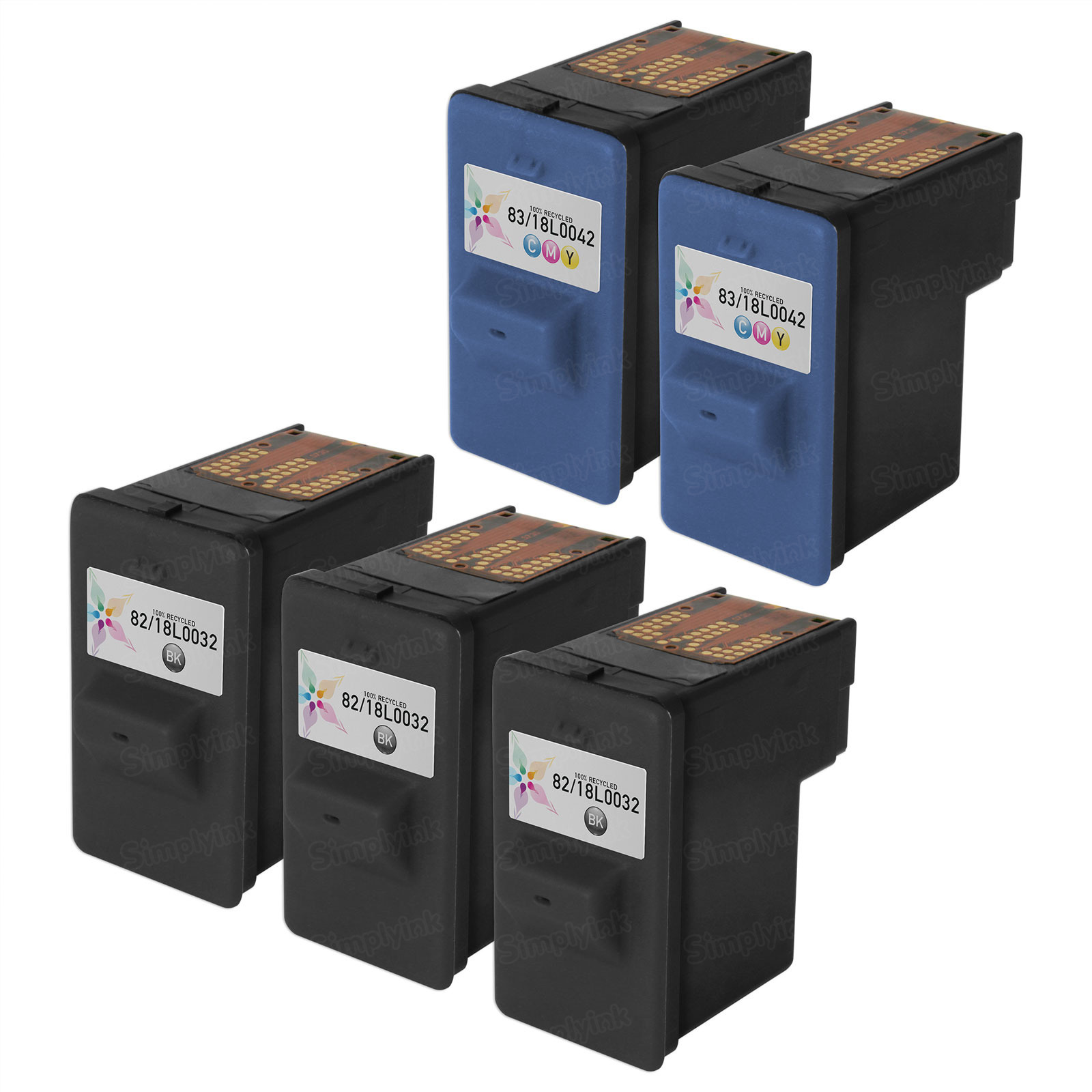 Inkjet Supplies for Lexmark Printers - Remanufactured Bulk Set of 5 Ink Cartridges 3 Black Lexmark 82 (18L0032) and 2 Color Lexmark 83 (18L0042)