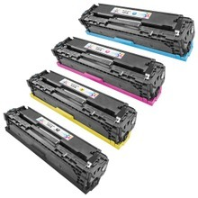 Remanufactured Replacement Bulk Set of 4 Toner Cartridges for HP 131X 131A - 1 Each of: Black, Cyan, Magenta and Yellow