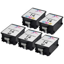 Remanufactured Replacement Bulk Set of 5 Ink Cartridges for HP - 3 Black 14 (C5011DN) and 2 Color 14 (C5010DN)