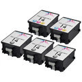 Remanufactured Bulk Set of 5 Ink Cartridges to Replace HP 14 (3 BK, 2 CLR)