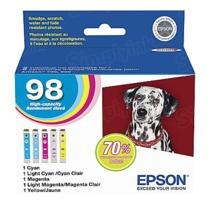 Original Epson 98 OEM High Yield Ink Cartridge Color 5-Pack, T098920, C/M/Y/LC/LM