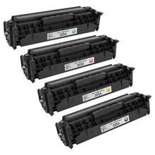 Compatible Replacement Bulk Set of 4 Toner Cartridges for HP 305A - 1 Each of: Black, Cyan, Magenta and Yellow