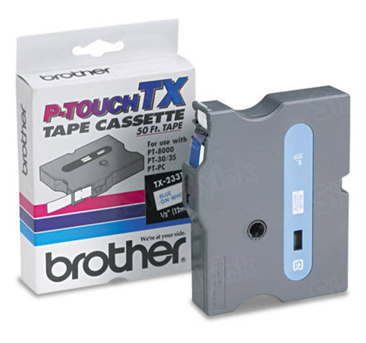 Brother TX-2331 1/2 Blue on White OEM Tape