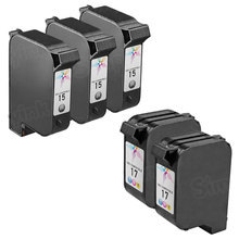 Remanufactured Replacement Bulk Set of 5 Ink Cartridges for HP 15 & HP 17 - 3 Black (C6615DN) and 2 Color (C6625AN)