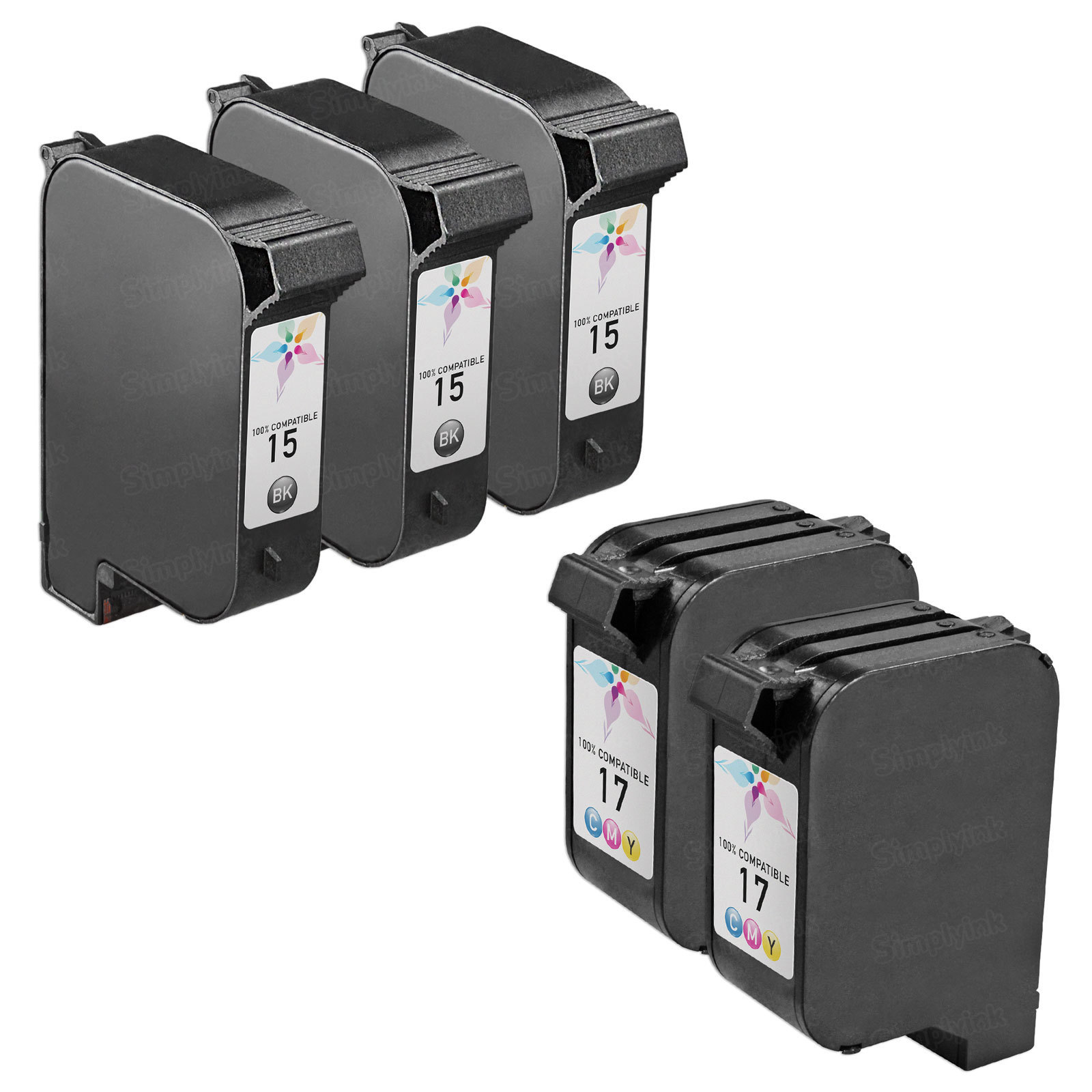 Remanufactured Bulk Set of 5 Ink Cartridges to Replace HP 15 & HP 17 (3 BK, 2 CLR)