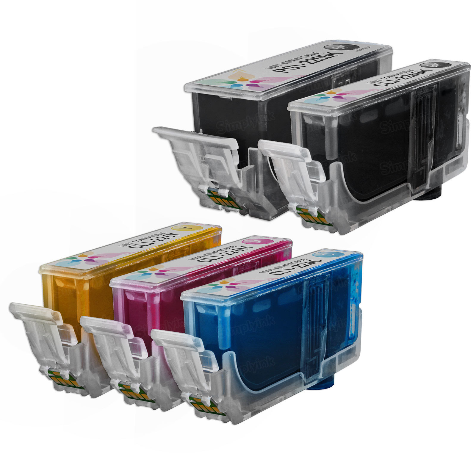 Canon PGI-225 & CLI-226: 1 Pigment Black PGI-225 & 1 Each of CLI-226 Bk, C, M, Y (Compatible Ink)