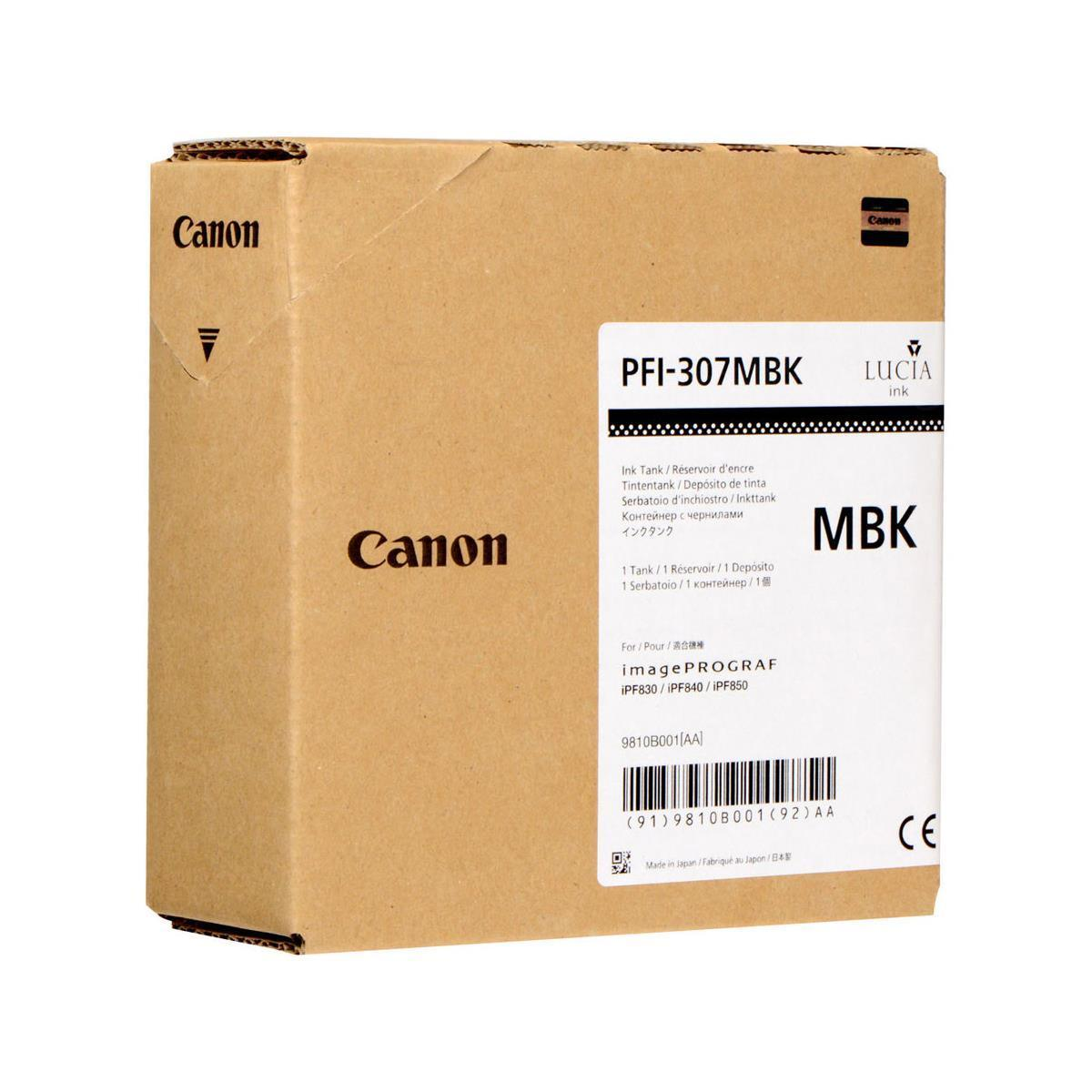Canon PFI-307MBK Matte Black 330ml Ink Cartridge, OEM