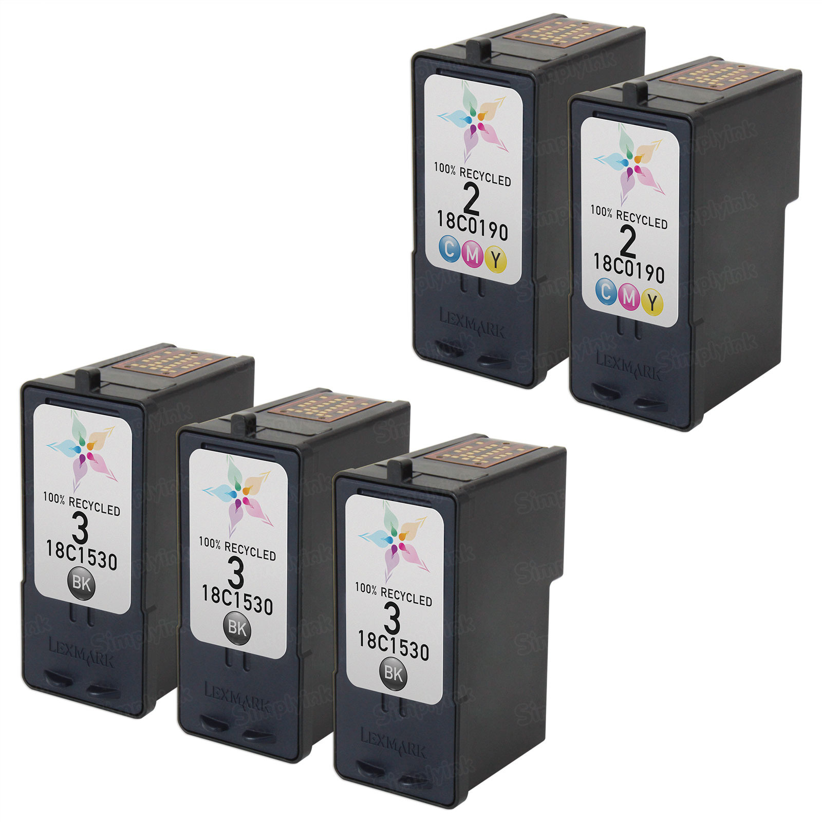 Inkjet Supplies for Lexmark Printers - Remanufactured Bulk Set of 5 Ink Cartridges 3 Black Lexmark #3 (18C1530) and 2 Color Lexmark #2 (18C0190)