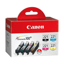 Canon CLI-221 OEM Ink Cartridge Color 4-Pack, 2946B004