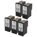 Inkjet Supplies for Dell Printers - Remanufactured Bulk Set of 5 Ink Cartridges 3 Black Dell GR274 (310-8373) and 2 Color Dell GR277 (310-8375)