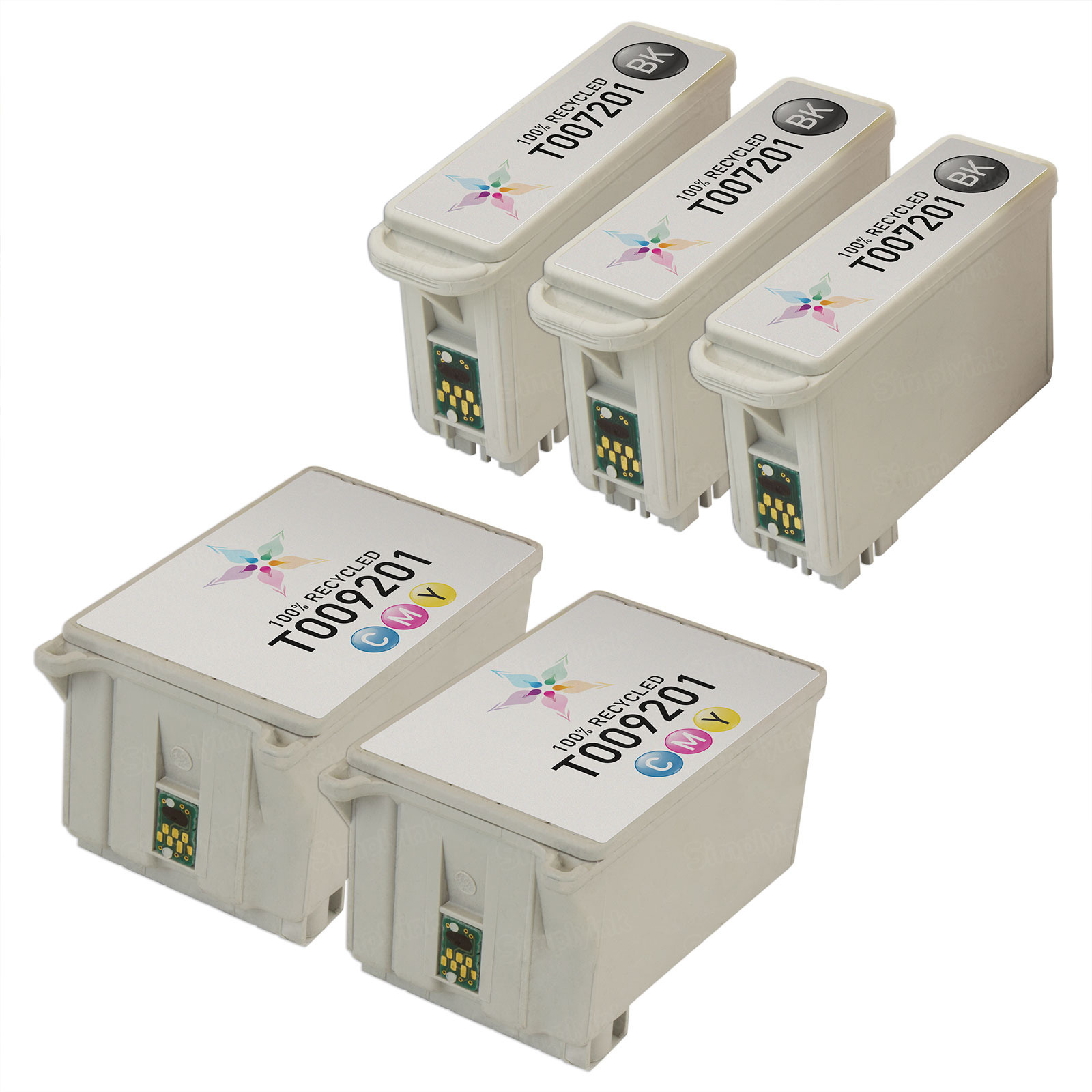 Inkjet Supplies for Epson Printers - Remanufactured Bulk Set of 5 Ink Cartridges 3 Black Epson T007201 (T007) and 2 Color Epson T009201 (T009)