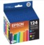 Original Epson 124 OEM Ink Cartridge Color 4-Pack, T124120-BCS, BK/C/M/Y