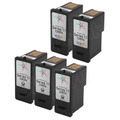 Inkjet Supplies for Dell Printers - Remanufactured Bulk Set of 5 Ink Cartridges 3 Black Dell CN594 (330-2092) and 2 Color Dell CN596 (330-2093)
