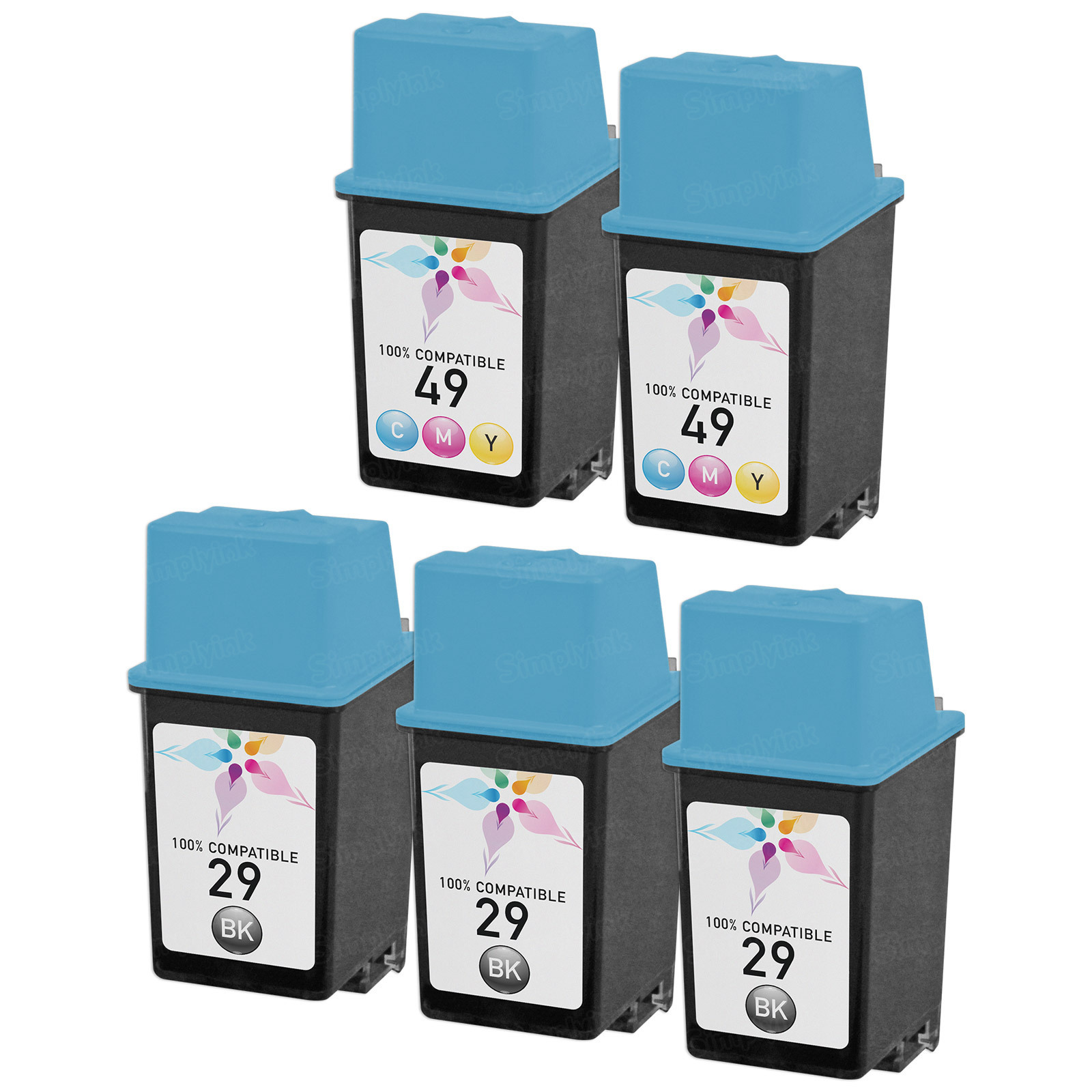 Remanufactured Bulk Set of 5 Ink Cartridges to Replace HP 29 & HP 49 (3 BK, 2 CLR)