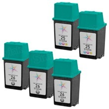 Remanufactured Replacement Bulk Set of 5 Ink Cartridges for HP 26 & HP 25 - 3 Black (51626A) and 2 Color (51625A)