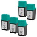 Remanufactured Bulk Set of 5 Ink Cartridges to Replace HP 26 & HP 25 (3 BK, 2 CLR)