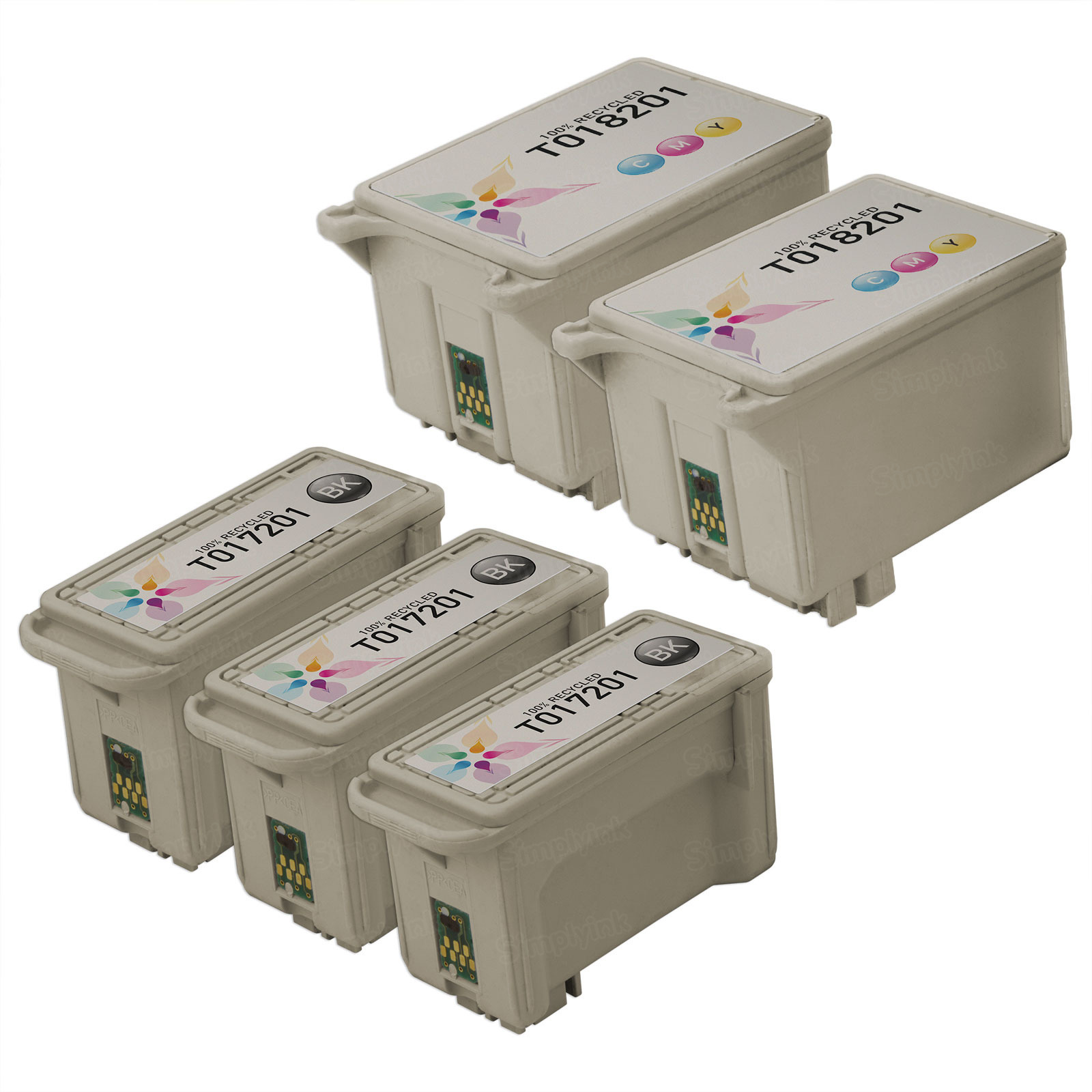 Inkjet Supplies for Epson Printers - Remanufactured Bulk Set of 5 Ink Cartridges 3 Black Epson T017201 (T017) and 2 Color Epson T018201 (T018)