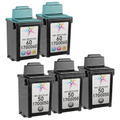 Inkjet Supplies for Lexmark Printers - Remanufactured Bulk Set of 5 Ink Cartridges 3 Black Lexmark 50 (17G0050) and 2 Color Lexmark 60 (17G0060)