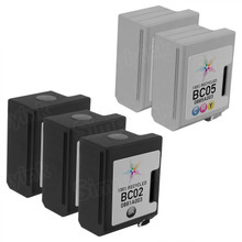 Inkjet Supplies for Canon Printers - Remanufactured Bulk Set of 5 Ink Cartridges 3 Black Canon BC02 (0881A003) and 2 Color Canon BC05 (0885A003)