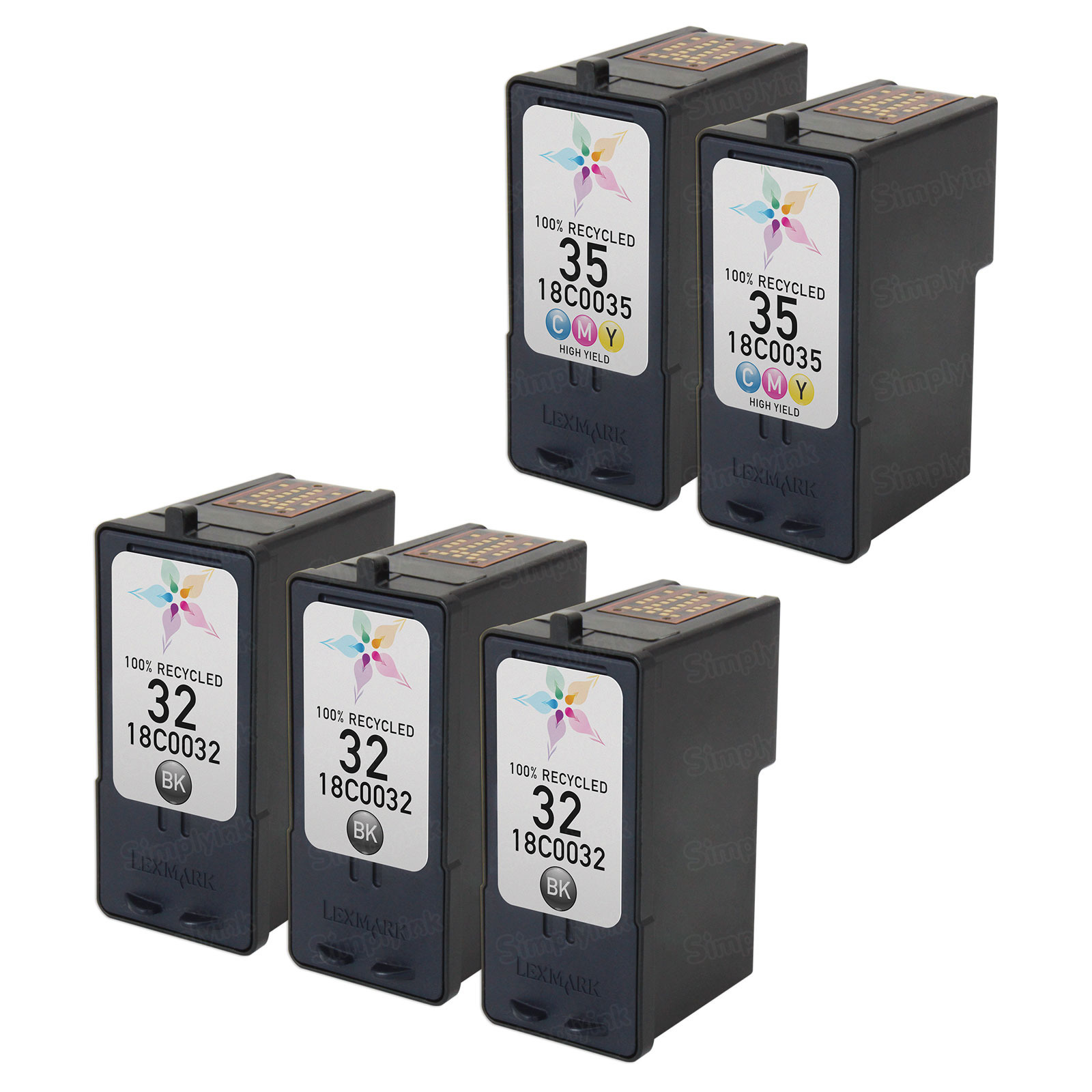 Inkjet Supplies for Lexmark Printers - Remanufactured Bulk Set of 5 Ink Cartridges 3 Black Lexmark 32 (18C0032) and 2 Color Lexmark 35 (18C0035)