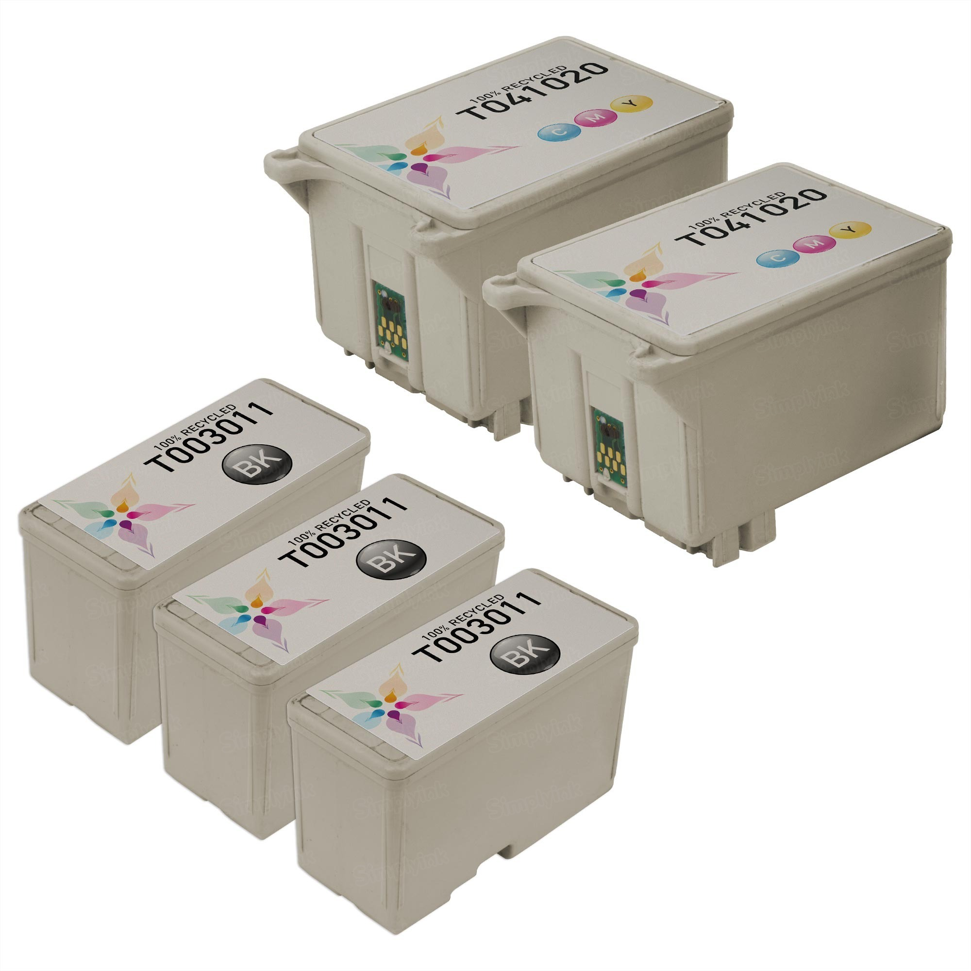 Inkjet Supplies for Epson Printers - Remanufactured Bulk Set of 5 Ink Cartridges 3 Black Epson T003011 (T003) and 2 Color Epson T005011 (T005)