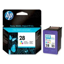 Original HP 28 Tri-Color Ink Cartridge in Retail Packaging (C8728AN)