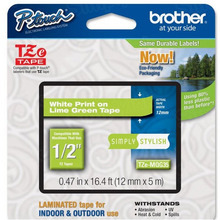 Brother TZeMQG35 White on Lime Green OEM 1/2 Label Tape