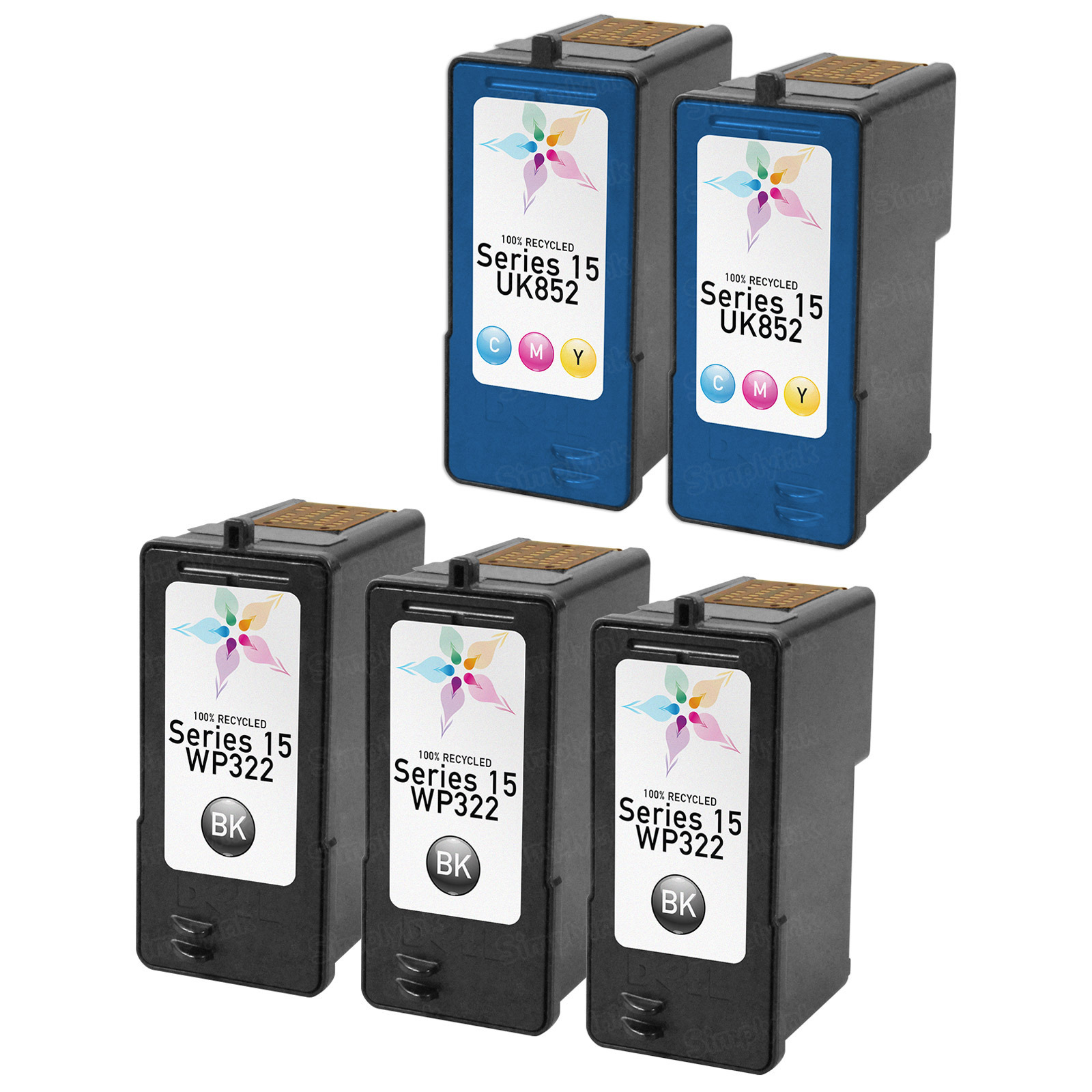 Inkjet Supplies for Dell Printers - Remanufactured Bulk Set of 5 Ink Cartridges 3 Black Dell WP322 (330-0868/Series 15) and 2 Color Dell UK852 330-0867/Series 15)