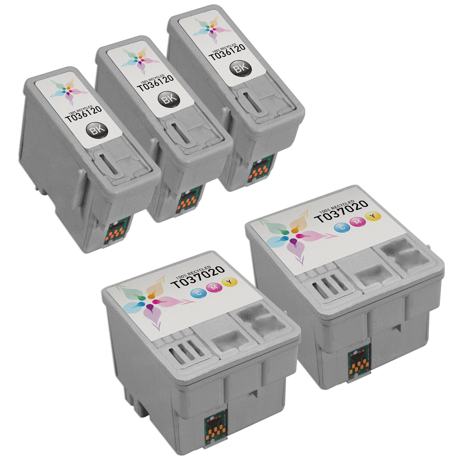 Inkjet Supplies for Epson Printers - Compatible Bulk Set of 5 Ink Cartridges 3 Black Epson T036120 (T036) and 2 Color Epson T037020 (T037)