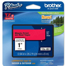 Brother TZe451 Black on Red OEM 1 Label Tape