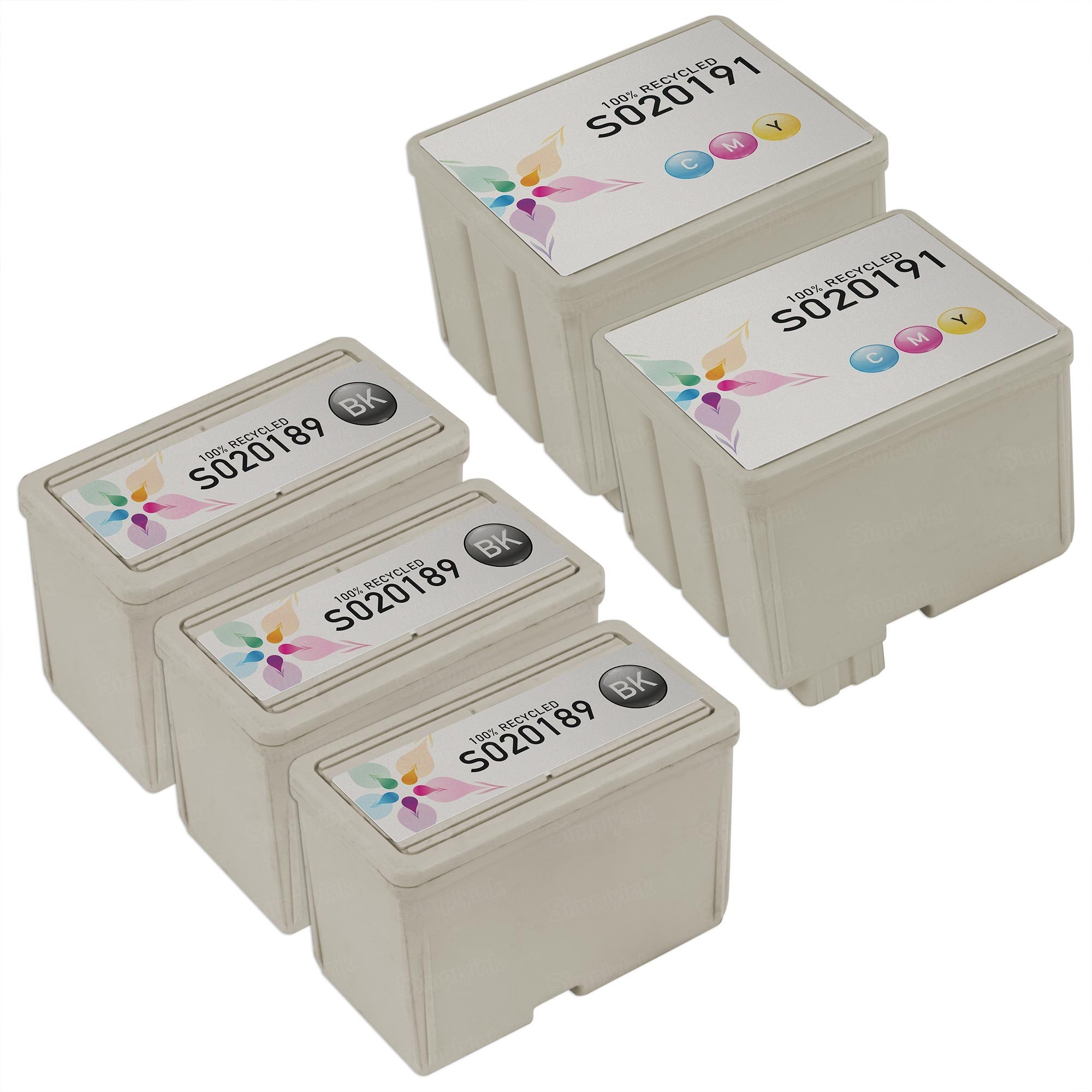 Inkjet Supplies for Epson Printers - Compatible Bulk Set of 5 Ink Cartridges 3 Black Epson S020189 (S189108) and 2 Color Epson S020191 (S191089)