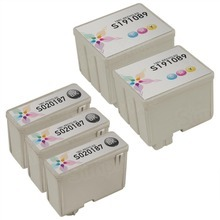 Inkjet Supplies for Epson Printers - Compatible Bulk Set of 5 Ink Cartridges 3 Black Epson S020187 (S187093) and 2 Color Epson S020191 (S191089)