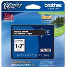 Brother TZe335 White on Black OEM 1/2 Label Tape