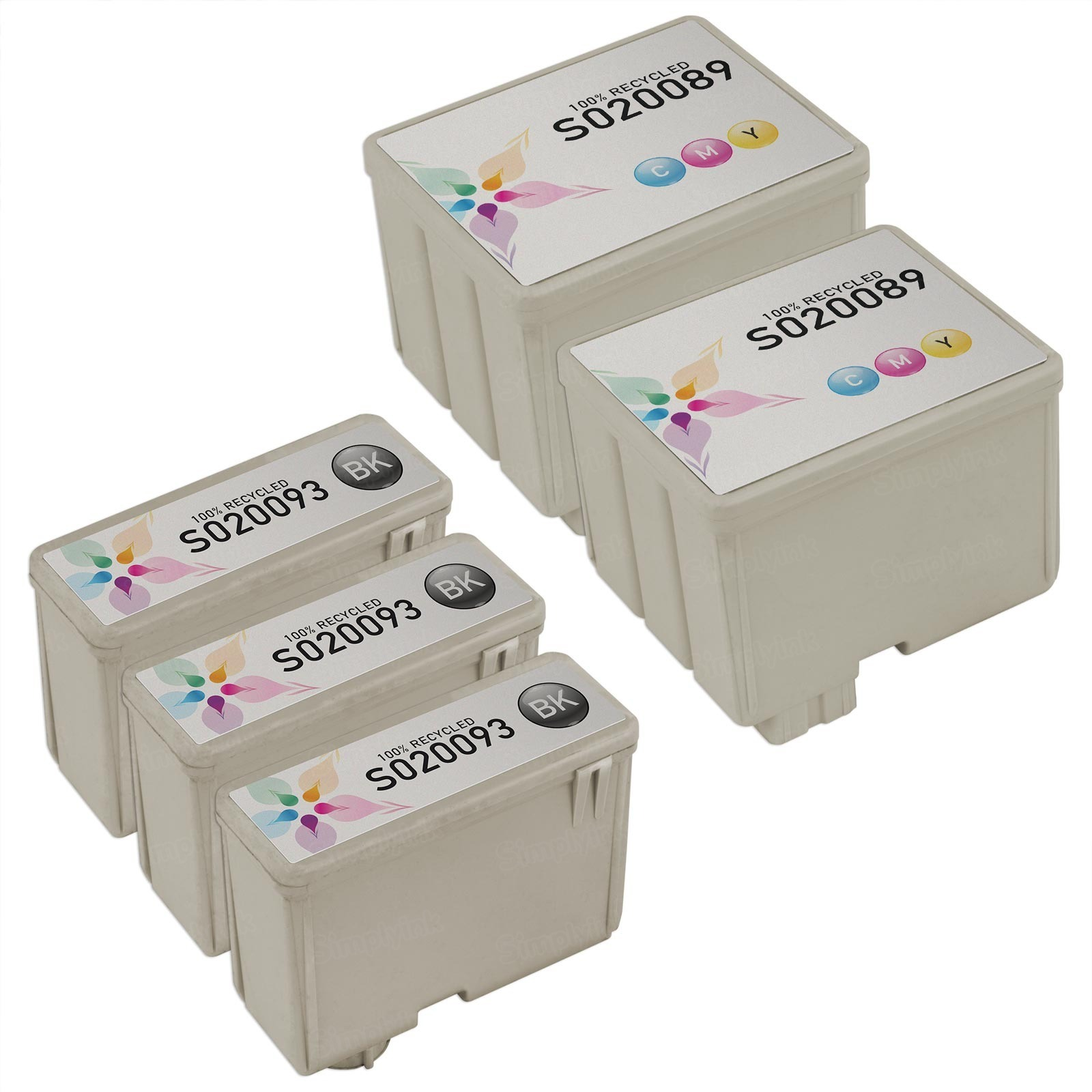 Inkjet Supplies for Epson Printers - Compatible Bulk Set of 5 Ink Cartridges 3 Black Epson S020093 and 2 Color Epson S020089