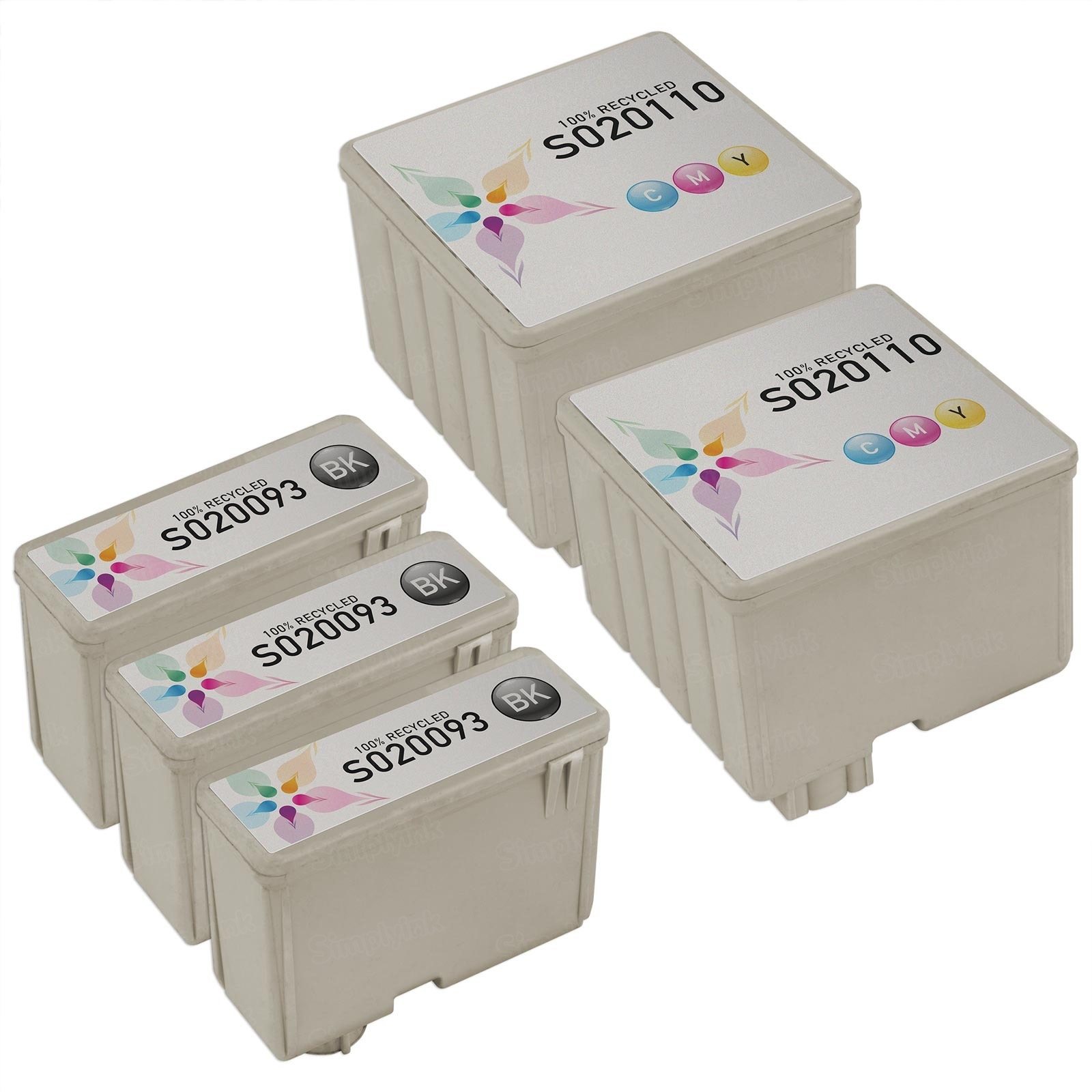 Inkjet Supplies for Epson Printers - Compatible Bulk Set of 5 Ink Cartridges 3 Black Epson S020093 and 2 Color Epson S020110