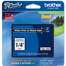 Brother TZe315 White on Black OEM 1/4 Label Tape