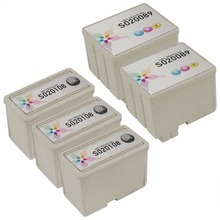 Inkjet Supplies for Epson Printers - Compatible Bulk Set of 5 Ink Cartridges 3 Black Epson S020108 and 2 Color Epson S020089