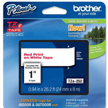 Brother TZe252 Red on White OEM 1 Label Tape