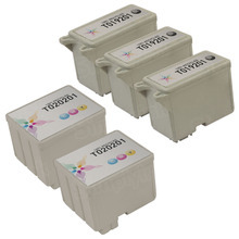 Inkjet Supplies for Epson Printers - Compatible Bulk Set of 5 Ink Cartridges 3 Black Epson T019201 (T019) and 2 Color Epson T020201 (T020)