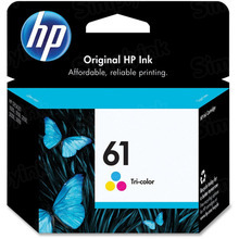 Genuine HP 61 Tri-Color Ink Cartridge in Retail Packaging (CH562WN)