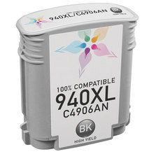 Remanufactured Replacement Ink Cartridge for Hewlett Packard C4906AN (HP 940XL) High-Yield Black - Shows Accurate Ink Levels