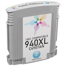 Remanufactured Replacement Ink Cartridge for Hewlett Packard C4907AN (HP 940XL) High-Yield Cyan - Shows Accurate Ink Levels
